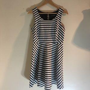 Express black & white striped fit & flare dress